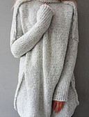 preiswerte Damen Pullover-Damen Alltag Solide Langarm Lose Lang Pullover, Rollkragen Winter Baumwolle Marineblau / Grau / Leicht Braun M / L / XL