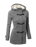 cheap Women's Trench Coats-Women's Daily Basic Fall & Winter Regular Coat, Solid Colored Hooded Long Sleeve Polyester Black / Dark Gray / Light gray L / XL / XXL