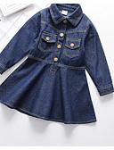 Χαμηλού Κόστους Φορέματα για κορίτσια-Παιδιά Κοριτσίστικα Βασικό Καθημερινά Μονόχρωμο Μακρυμάνικο Βαμβάκι / Πολυεστέρας Φόρεμα Βαθυγάλαζο