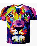 cheap Men's Tees & Tank Tops-Men's Plus Size T-shirt - Animal Lion, Print Round Neck Purple XL / Short Sleeve / Summer