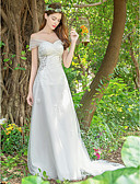 baratos Vestidos de Casamento-Linha A Decote V Cauda Corte Renda / Tule Vestidos de casamento feitos à medida com Apliques / Renda de LAN TING Express