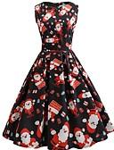 tanie W stylu vintage-Damskie Vintage Bufka Linia A Sukienka - Płatek śniegu Midi