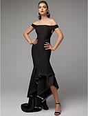 preiswerte Cocktailkleider-Trompete / Meerjungfrau Schulterfrei Asymmetrisch Elasthan Formeller Abend Kleid mit Rüschen durch TS Couture®
