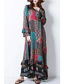 رخيصةأون فساتين طويلة-فستان نسائي قميص / عباءة بوهو كشكش طويل للأرض خصر عالي / فضفاض
