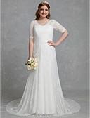 olcso Menyasszonyi ruhák-Szűk szabású V-alakú Udvari uszály Csipke Made-to-measure esküvői ruhák val vel Csipke által LAN TING BRIDE®