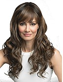 cheap Wedding Slips-Synthetic Wig Curly Style With Bangs Capless Wig Brown Medium Brown / Bleached Blonde Synthetic Hair 24 inch Women's Synthetic Brown Wig Long Natural Wigs