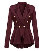 preiswerte Damen Jacken-Damen Alltag Grundlegend Standard Trench Coat, Solide Hemdkragen Langarm Polyester Schwarz / Wein / Königsblau XL / XXL / XXS