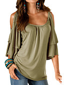 cheap Women's Shirts-Women's Going out Loose T-shirt - Solid Colored / Summer / Ruffle / Cut Out / Sexy