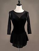 abordables Robe de Patinage-Costumes de Danse Patinage Femme / Fille Entraînement Tulle / Pleuche Ondulé Manches Longues Taille haute Robe