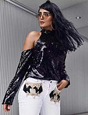 billige Bodysuit-Dame - Ensfarvet Pailletter Basale T-shirt