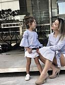 povoljno Obiteljski komplet odjeće-Odrasli Djeca Dijete koje je tek prohodalo Mama i mene Aktivan Osnovni Dnevno Praznik Blue & White Jednobojni Vezanje straga Rukava do lakta Regularna Iznad koljena Pamuk Komplet odjeće Obala