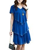cheap Plus Size Dresses-Women's Ruffle Plus Size Daily Weekend Street chic Chiffon Dress - Solid Colored Blue, Layered Summer Black Orange Royal Blue XXXL XXXXL XXXXXL