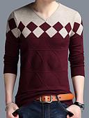 abordables Camisetas y Tops de Hombre-Hombre Diario Básico Bloques Manga Larga Regular Pullover, Escote en Pico Naranja / Color Camello / Wine XXL / XXXL / XXXXL
