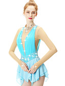 cheap Ice Skating Dresses , Pants & Jackets-Figure Skating Dress Women's / Girls' Ice Skating Dress Blue Spandex High Elasticity Competition Skating Wear Embossed / Fashion Sleeveless Ice Skating / Winter Sports / Figure Skating