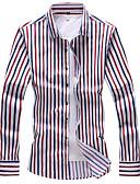 お買い得  メンズシャツ-男性用 プラスサイズ シャツ ベーシック ストライプ / カラーブロック ルビーレッド XXXXL / 長袖