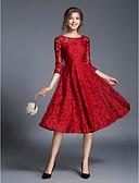 baratos Vestidos Femininos-Mulheres Moda de Rua Bainha / Rodado Vestido Jacquard Médio