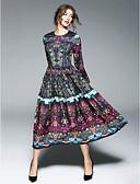baratos Vestidos Femininos-Mulheres Para Noite Temática Asiática balanço Vestido Sólido Longo / Médio