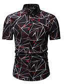 abordables Chemises pour Homme-Chemise Homme, Géométrique / Bloc de Couleur Imprimé Soirée Business / Basique Col Classique Bleu XL / Manches Courtes / Printemps
