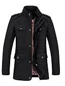 cheap Men's Jackets & Coats-Men's Daily Basic Winter Plus Size Long Jacket, Solid Colored Notch Lapel Long Sleeve Polyester Black / Army Green / Khaki 4XL / XXXXXL / XXXXXXL