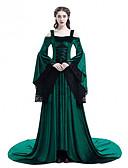 رخيصةأون الأزياء التنكرية التاريخية والقديمة-أميرة عتيق / معتق العصور الوسطى عصر النهضة أميرة كوستيوم نسائي فساتين أسود / أحمر / أخضر عتيقة تأثيري كم طويل كم مضيئة ذيل مثل الفرشاة