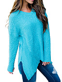 cheap Women's Sweaters-Women's Daily / Going out Basic / Street chic Solid Colored Long Sleeve Regular Pullover, V Neck Fall / Winter Blue / Orange M / L / XL / Sexy