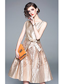 cheap Prom Dresses-A-Line Jewel Neck Knee Length Jersey Dress with Bow(s) / Ruffles by LAN TING Express