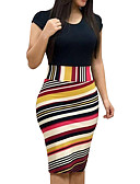 cheap Print Dresses-Women's Plus Size Going out / Work Sexy Slim Bodycon Dress - Striped / Floral Rose, Print Summer Black Red Yellow XL XXL XXXL