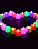 cheap Women's Jumpsuits & Rompers-24PCS LED Candle Multicolor Lamp Simulation Color Flame Tea Light Home Wedding Birthday Party Decoration Dropshipping