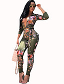 cheap Women's Jumpsuits & Rompers-Women's Daily Deep V Green Pencil Slim Jumpsuit, Floral Print M L XL Long Sleeve / Sexy