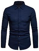 お買い得  メンズパンツ&ショーツ-男性用 シャツ ソリッド リネン ブラック L