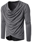 preiswerte Herren T-Shirts & Tank Tops-Herrn Solide - Grundlegend Baumwolle T-shirt, Rundhalsausschnitt Schlank Schwarz L / Langarm