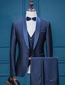 preiswerte Anzüge-Solide Reguläre Passform Polyester Anzug - Schalrevers Einreiher - 1 Knopf / Anzüge