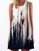 hesapli Print Dresses-Kadın's Kumsal Kombinezon Elbise - Çiçekli Batik Diz-boyu