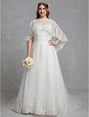 povoljno Vjenčanice-A-kroj Ovalni izrez Srednji šlep Čipka / Til Izrađene su mjere za vjenčanja s Kristalni detalji / Čipka po LAN TING BRIDE® / Predivna leđa