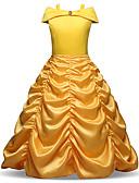 Χαμηλού Κόστους Φορέματα για κορίτσια-Παιδιά / Νήπιο Κοριτσίστικα Βίντατζ / Γλυκός Χριστούγεννα / Αργίες Μονόχρωμο Πλισέ Μακρυμάνικο Μίντι Πολυεστέρας Φόρεμα Κίτρινο