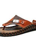 baratos Jaquetas & Casacos para Homens-Homens Sapatos de couro Pêlo de Coelho / Pele Verão Vintage / Casual Chinelos e flip-flops Respirável Preto / Marron