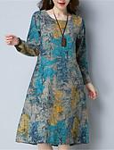 hesapli Print Dresses-Kadın's Çin Stili Salaş Elbise - Çiçekli, Desen Midi Mavi