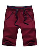 cheap Men's Pants & Shorts-Men's Cotton Slim Straight / Loose / Shorts Pants - Solid Colored Red / Spring / Weekend / Asian Size