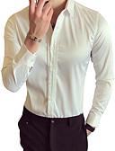 cheap Men's Shirts-Men's Cotton Slim Shirt - Solid Colored Shimmery Classic Collar / Long Sleeve