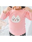 billige Sett med pikeklær-Baby Jente Aktiv Daglig Ensfarget / Geometrisk Langermet Normal Polyester T-skjorte Rosa