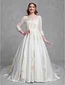 baratos Vestidos de Casamento-Linha A Ilusão Decote Cauda Capela Renda / Cetim Vestidos de casamento feitos à medida com Renda de LAN TING BRIDE®