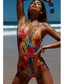 cheap Bikinis-Women's Basic Halter Neck Black Orange Purple Cheeky One-piece Swimwear - Flower / Floral S M L Black / Sexy