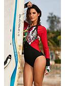 Χαμηλού Κόστους One-piece swimsuits-Γυναικεία Βασικό Στράπλες Μαύρο Ρουμπίνι Bandeau Προκλητικό Ένα κομμάτι Μαγιό - Γεωμετρικό Στάμπα L XL XXL Μαύρο / Sexy