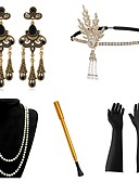 cheap Historical & Vintage Costumes-The Great Gatsby Vintage 1920s The Great Gatsby Roaring 20s Costume Women's Headpiece Flapper Headband Head Jewelry Black+Sliver / Golden+Black / Red+Golden Vintage Cosplay / Feather