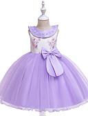Χαμηλού Κόστους Φορέματα για κορίτσια-Παιδιά / Νήπιο Κοριτσίστικα χαριτωμένο στυλ / Εκλεπτυσμένο Αργίες / Εξόδου Φλοράλ / Patchwork Δαντέλα / Χάντρες / Φιόγκος Αμάνικο Ρεϊγιόν / Πολυεστέρας Φόρεμα Γκρίζο
