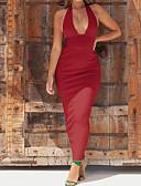 رخيصةأون فساتين طويلة-فستان نسائي ثوب ضيق أساسي / أناقة الشارع بدون ظهر طويل للأرض لون سادة