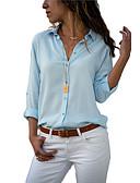 abordables Chemises pour Femme-Chemise Femme, Couleur Pleine Col de Chemise Ample / Sexy