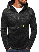 cheap Men's Sweaters & Cardigans-Men's Active / Basic Hoodie / Hoodie Jacket - Polka Dot Split Black XL