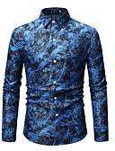 billiga Herrtröjor-Tryck, Geometrisk Skjorta Herr Smal Blå XL