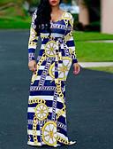 hesapli Print Dresses-Kadın's Dışarı Çıkma İnce Kılıf Elbise - Geometrik U Yaka Maksi / Sexy